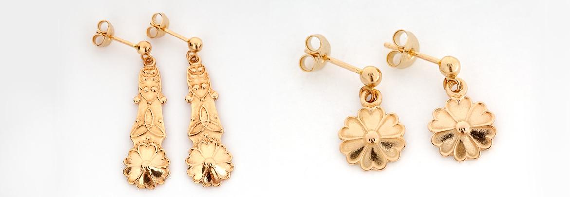 Örhängen i mindre och större modell. Guld pris från 1990kr - 3850kr och silver från 650kr - 790kr.