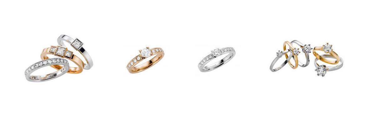 Schalins ringar finns i rödguld och vitguld 18k och 14k.